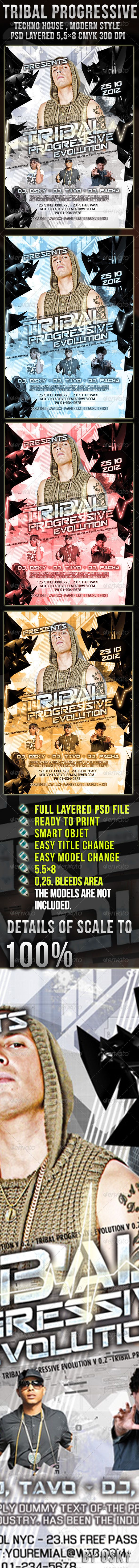 """Tribal Progressive Flyer  #GraphicRiver        Tribal Progressive Flyer    5.5×8 inches   psd files   300 dpi CMYK    0.25 bleed area,   Easy model Photo Replacement, SMART OBJET    4 style adjust theme color   PSD organised in layers """"named""""  Fonts Used Are     Enigmatic   Seperated   All Fonts, free in  .dafont     IMPORTANT     for online help   MSN , oscarfrugoni@hotmail    assists and questions   The models are not included   Please Check my  PORFOLIO    ON LINE HELP    MSN…"""