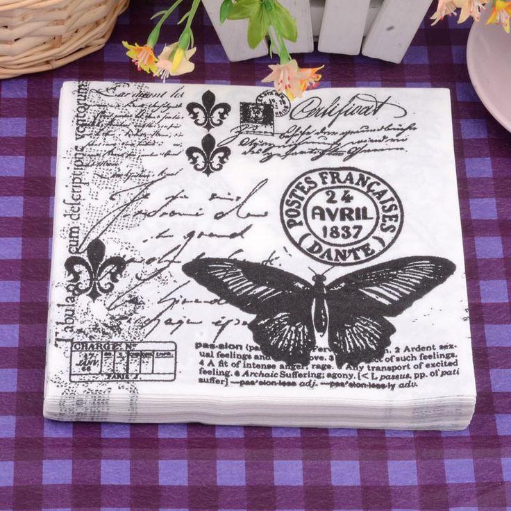 20 unids Estilo Vintage Mariposa Servilleta de Papel 100% Tejido Virgen de Madera para La Decoración de La Boda