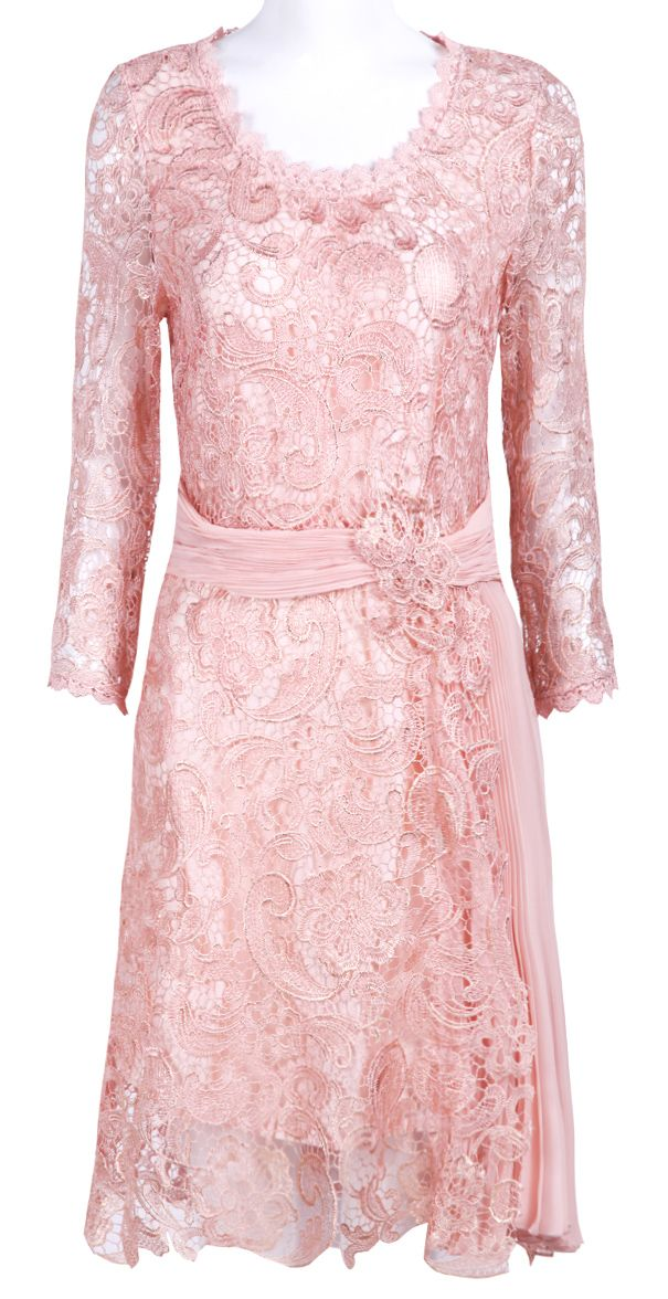 Pink Long Sleeve Embroidery Belt Lace Dress