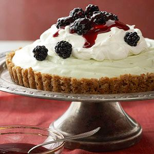 Pretzel-Crusted Lime Mousse Tart with Blackberry Sauce Crushed pretzels create a slightly salty crust that tastes wonderful with the fluffy lime mixture.