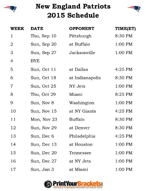 Printable New England Patriots Schedule - 2015 Football Season