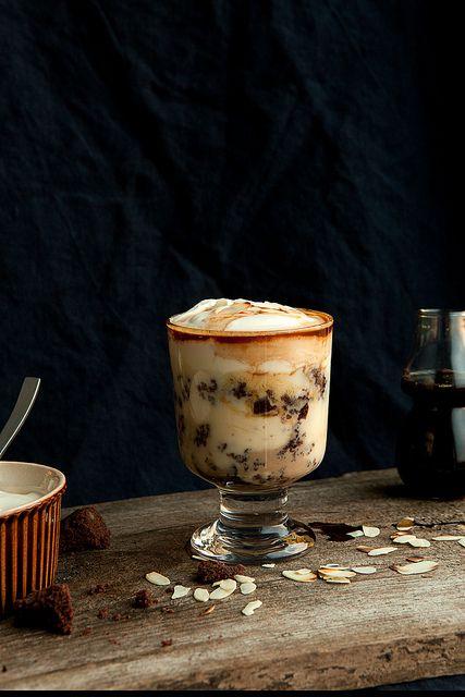 koffietrifle met brownie en baileys!