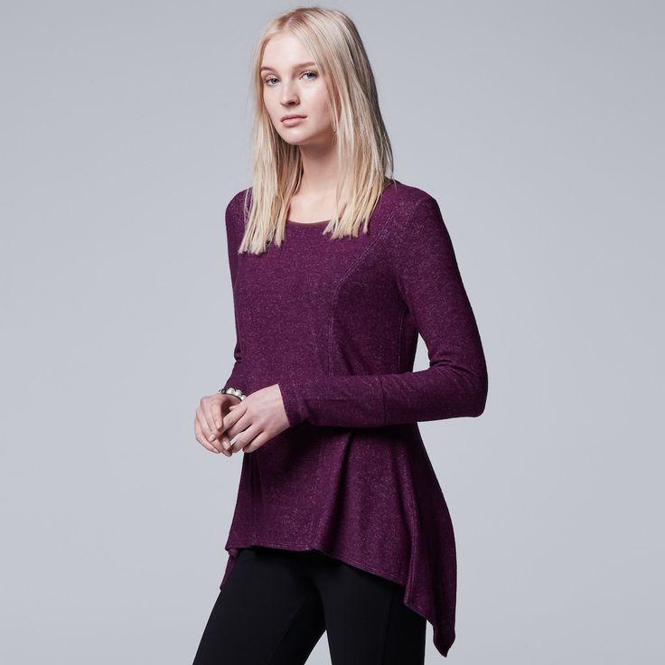 Petite Simply Vera Vera Wang High-Low Top, Women's, Size: Xl Petite, Drk Purple