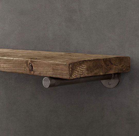 """Can I DIY this Restoration Hardware shelf. I feel like it can be done without shelling out the $300."" DONT BE DUMB ITS A BOARD AND A PIECE OF PIPE FU RESTORATION HARDWARE!"