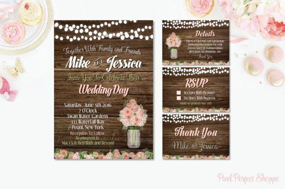 Wedding Invitation Rustic Wedding Invitation by PixelPerfectShoppe