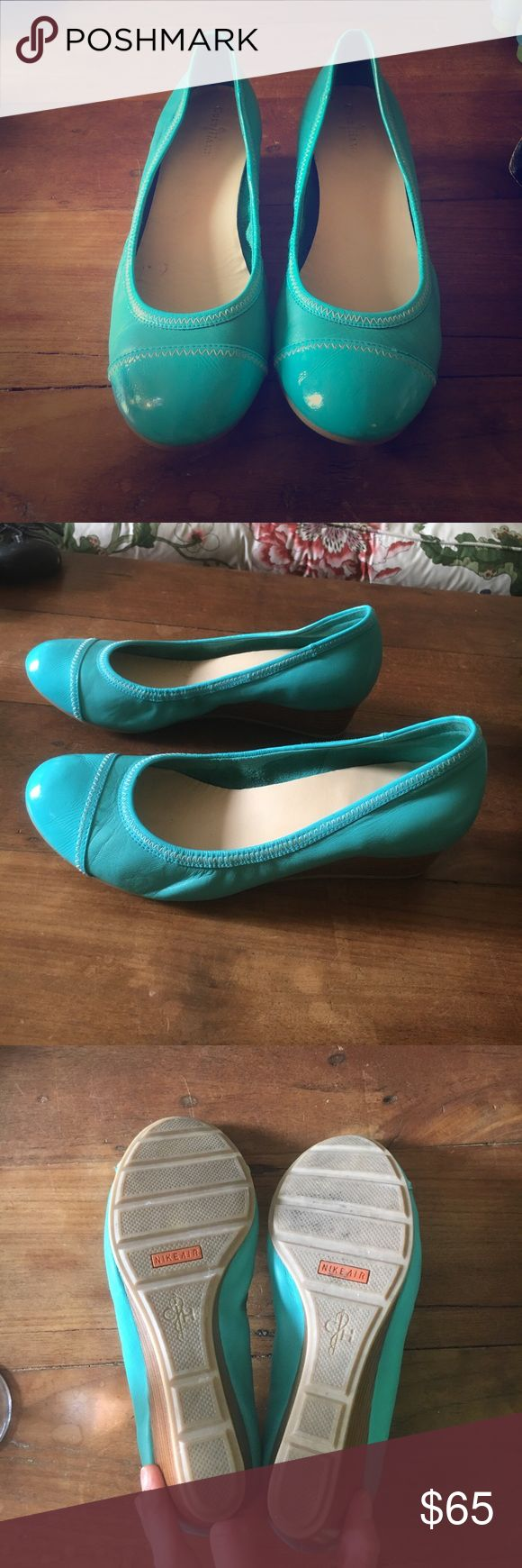 Cole Hahn Nike sole turquoise wedges Cole Hahn Nike sole turquoise wedges- size 9. Super comfortable with lots of support. Worn once Cole Haan Shoes Wedges