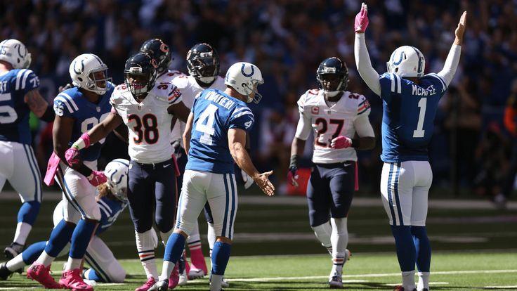 Bears vs. Colts:  29-23, Colts  October 9, 2017  -     Colts kicker Adam Vinatieri celebrates one of his first half field goals.