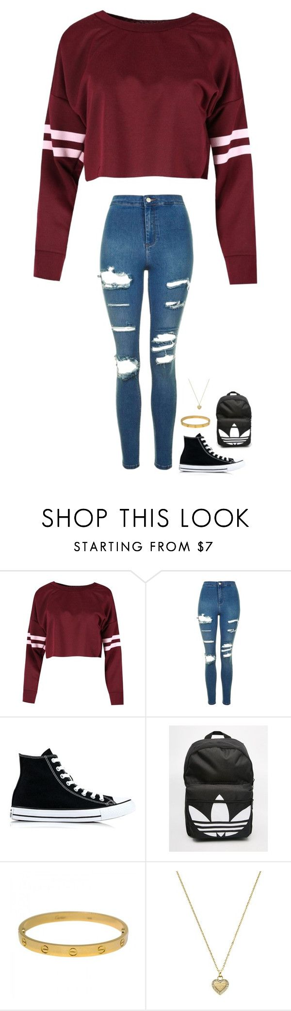 """Untitled #373"" by jasmine2001 ❤ liked on Polyvore featuring Topshop, Converse, adidas, Cartier and Michael Kors"