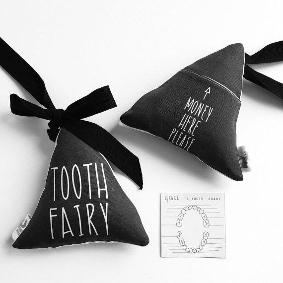 tooth fairy pillow with a tooth chart, and in elegant black and white (not too fussy and frilly!) Tooth Fairy Pillow  Childrens handmade eco by MacaroonKids on Etsy