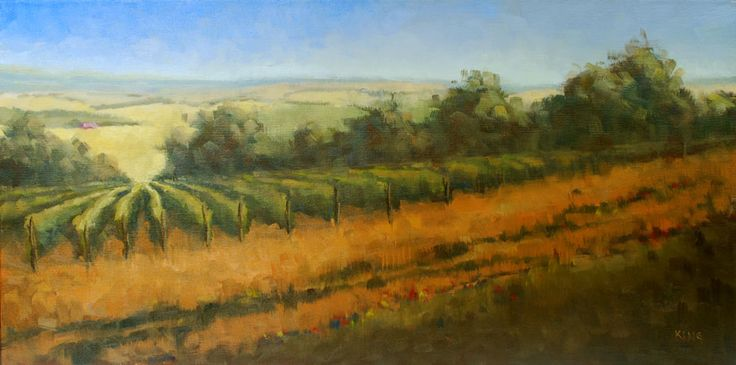 Michael King oil painting on canvas of french vineyard