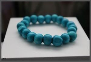 Wooden Electric Blue Bead Bracelet