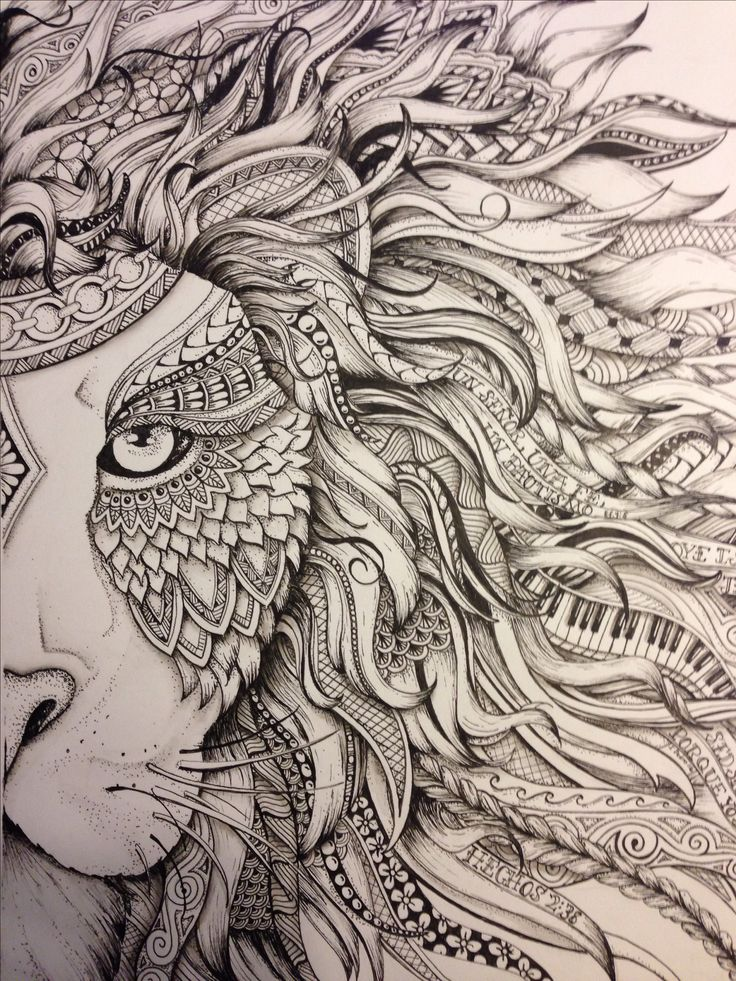 Lion #zendoodle drawn by Justine Galindo Signed prints available  (10 1/2 x 12)…