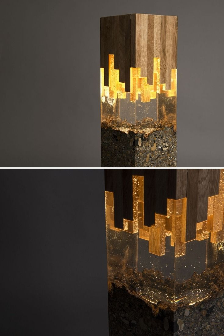 Wood Resin Lamp Wood Resin Unique Lamps Handmade Lighting