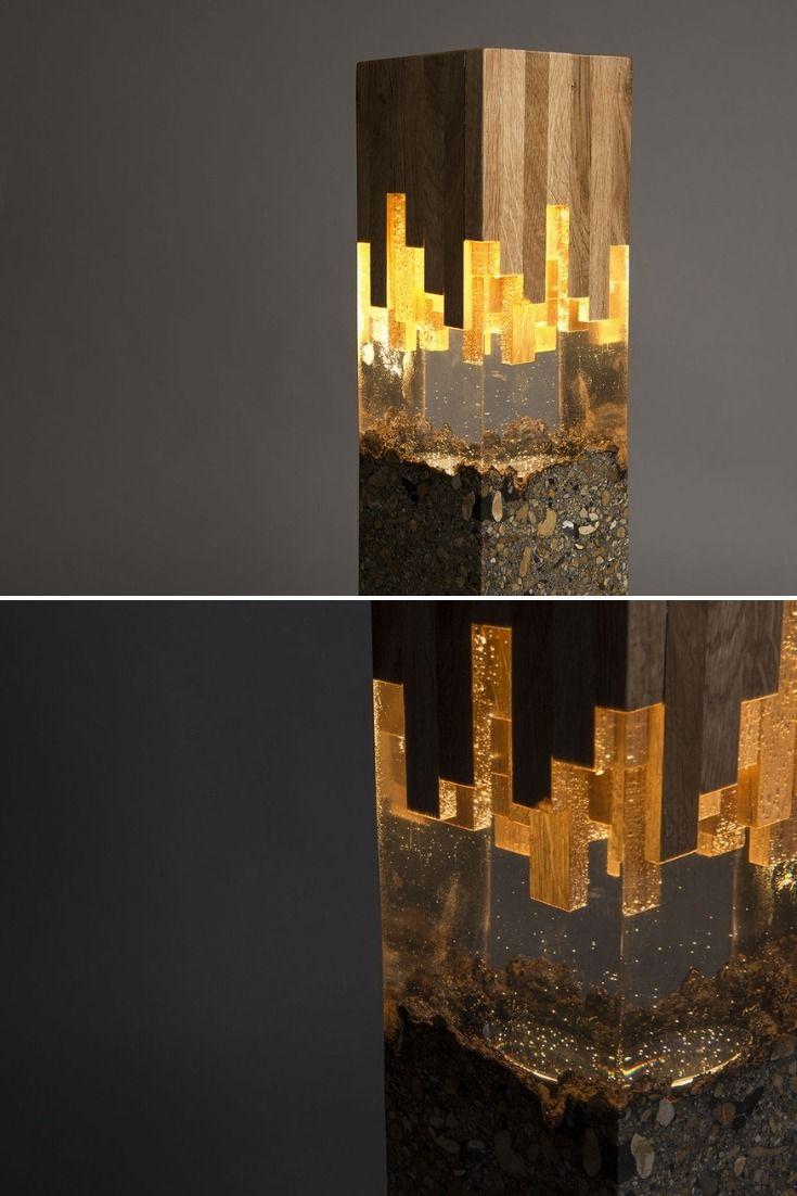Wood Amp Resin Lamp Wood Resin Unique Lamps Wood Lamps