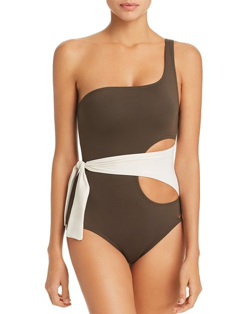 7031358dbf26 Color-Block Wrap One-Shoulder One Piece Swimsuit from Vince Camuto  #VinceCamuto