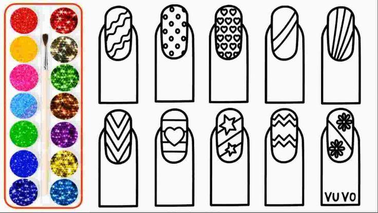 nail art coloring pages glitter nail art drawing and