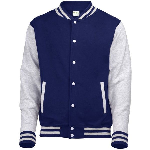 AWDis Hoods Varsity Letterman jacket ($26) ❤ liked on Polyvore featuring outerwear, jackets, blue jackets, college jackets, varsity style jacket, hooded jacket and hooded varsity jacket