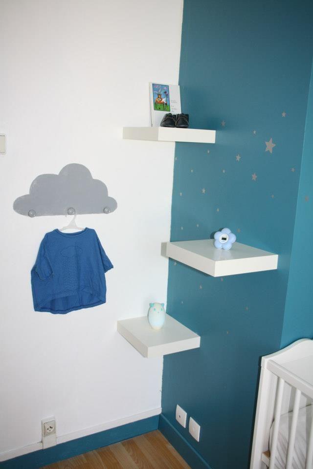 Faire un patère nuage maison : peindre au mur un nuage et y ajouter 3 boutons de portes ( qu'on repeindra si nécessaire de la même couleur )