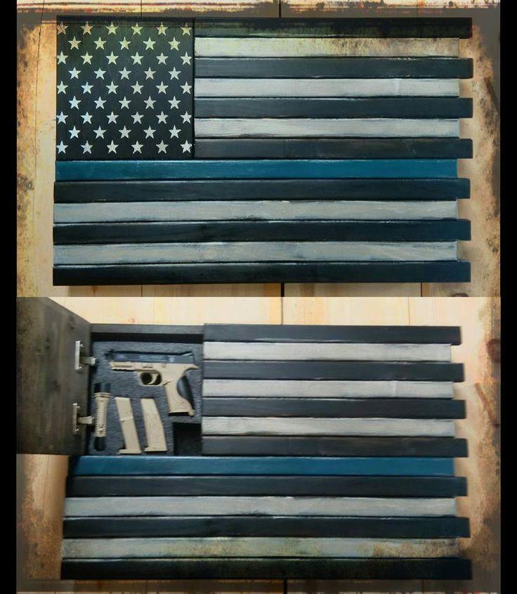 The Thin Blue Line - Custom Wooden Flag (Hidden Compartment)