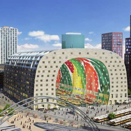 Rotterdam Market Hall is a huge marketplace and living space planned to be finished in 2014, that will house 100 market stalls, shops and restaurants, as well as apartments; designed by MVRDV