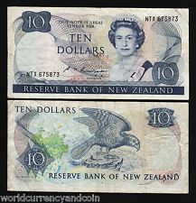 NEW ZEALAND $10 P172 1985 FLOWER BIRD QUEEN WORLD CURRENCY MONEY BILL BANKNOTE