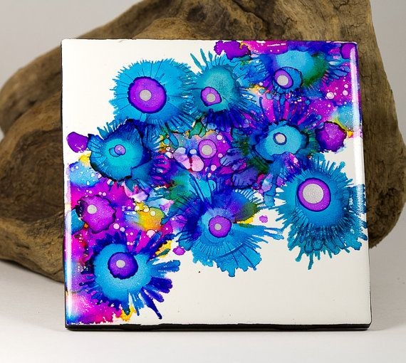 Ceramic tile Original Alcohol Ink Painting coaster by StayaFLOAT, $15.00