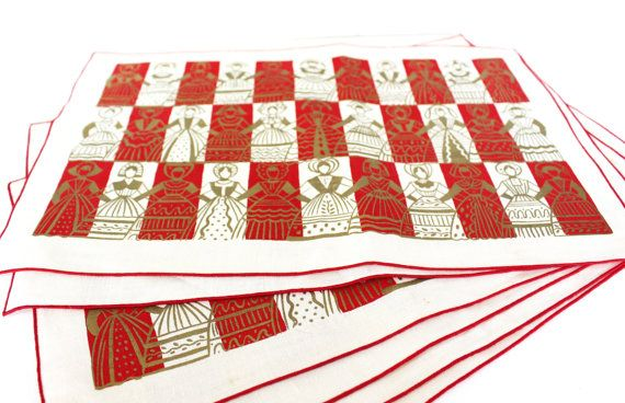 Vintage Fabric Linen Scandinavian Placemats Set by ThirdHandShoppe