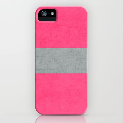 hot pink and gray classic iPhone & iPod Case by her art