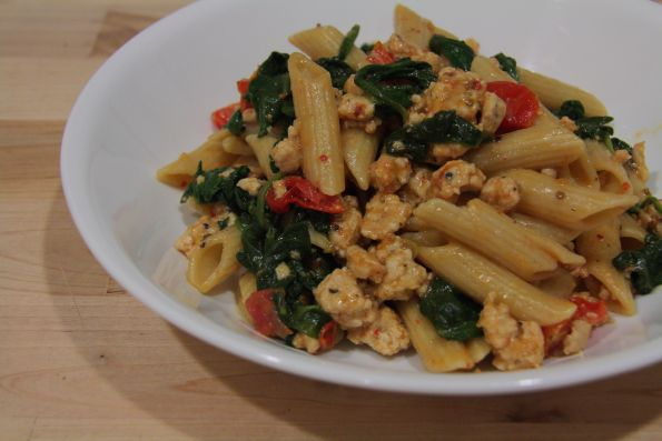 Turkey and Spinach Pasta - Use roasted red pepper for tomato. Gluten ...