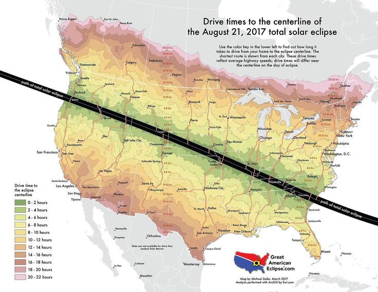 Drive time to the centerline of the August 21, 2017 total solar eclipse.