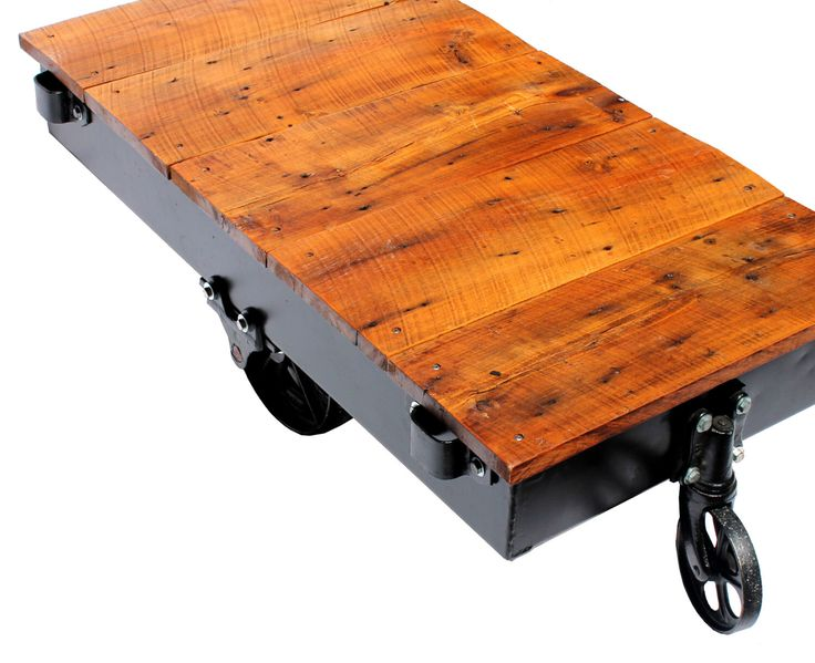 Vintage Railroad Industrial Factory Cart Coffee Table Reclaimed Wood on Antique Cast Iron Casters by PickleandCo