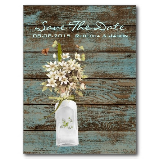 vintage rustic teal country wedding save the date post card