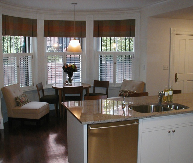 Plantation Shutters and Valance used in a Bay Window  Bay Window Treatments in 2019  Kitchen