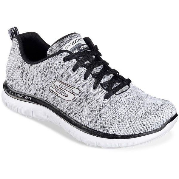 Skechers Women's Flex Appeal Knit Lace-Up Sneakers ($34) ❤ liked on Polyvore featuring shoes, sneakers, white, skechers, grip trainer, skechers sneakers, white shoes and round toe shoes