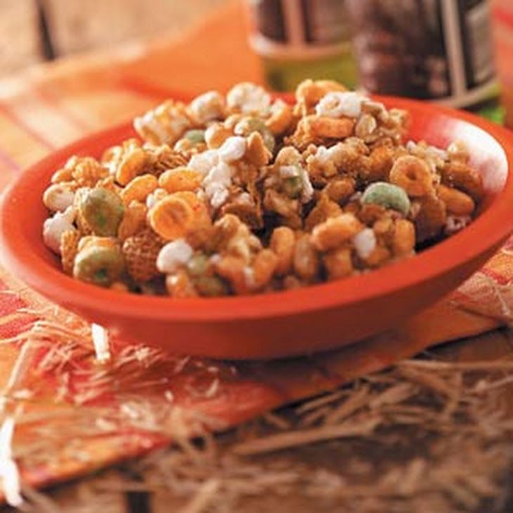 Caramel Apple Snack Mix Recipe Lunch and Snacks with popcorn, Kellogg's® Crispix® Cereal, Apple Jacks Cereal, salted peanuts, brown sugar, butter, light corn syrup, vanilla extract, baking soda
