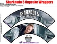 Sharknado 5: Global Swarming Party Printables cupcake wrappers