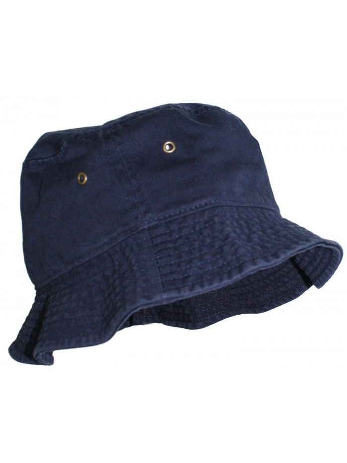 Simple Solid Cotton Bucket Hat - Navy Blue - C811LXK9G85  ad5ecb2c2