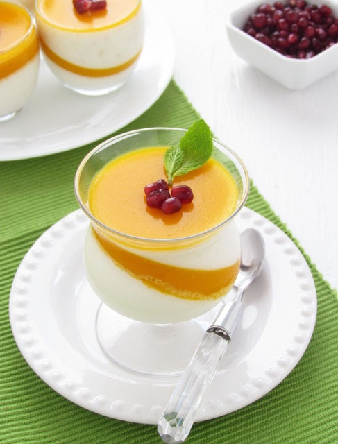 lychee panna cotta with mango jelly