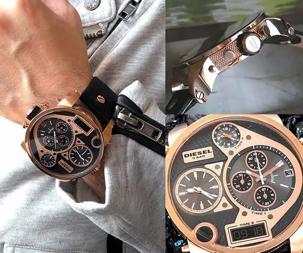 men 39 s diesel sba mr daddy rose gold chronograph leather. Black Bedroom Furniture Sets. Home Design Ideas
