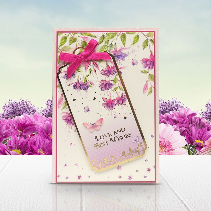 Card made using the 'A Finishing Touch' & 'Fluttering in Fuchsia' topper sets from the Butterfly Bouquet Collection