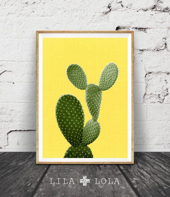 Cactus de la foto impresión amarillo de la pared arte por LILAxLOLA