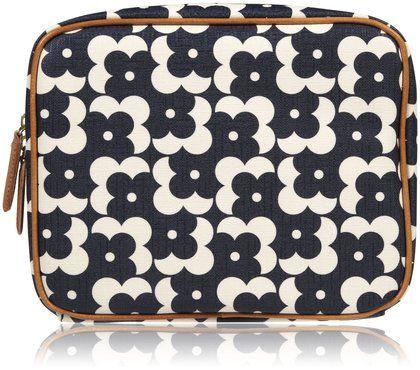 Orla Kiely Wash Bag, Flower Shadow Dot - Navy