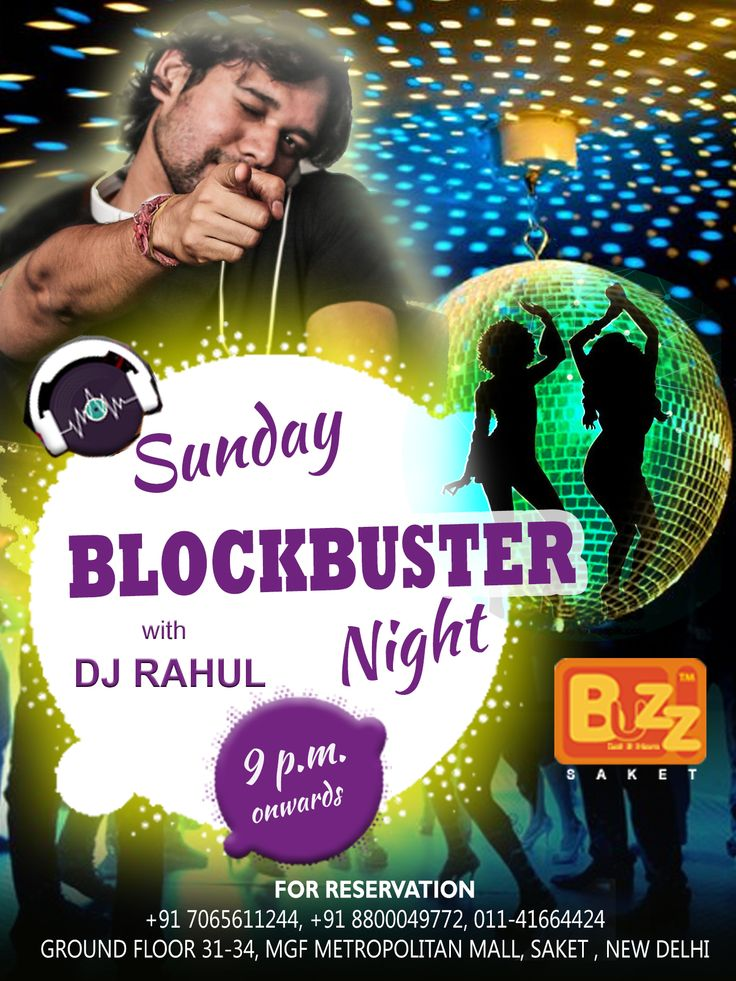 SUNDAY BLOCKBUSTER NIGHT @ BUZZ saket   9pm ONWARDS.Come for a night of total craziness at BUZZ Saket, Celebrate your weekend with a bang and dance all night with the best of food and drinks. Couples & Ladies Entry free Till 11 pm  #Sunday #Weekend #Party #Partyallnight #Partytime #nightlife #delhi #Bar #Beer #Club #Drink #Food #Booze #Fun #Friends #Enjoy #Events