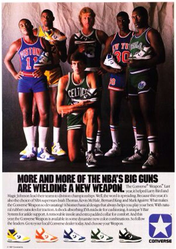 #Converse Weapon AD | Larry Bird, Magic, Isiah Thomas, Bernard King, Mark Aguirre, Kevin McHale | #crispculture