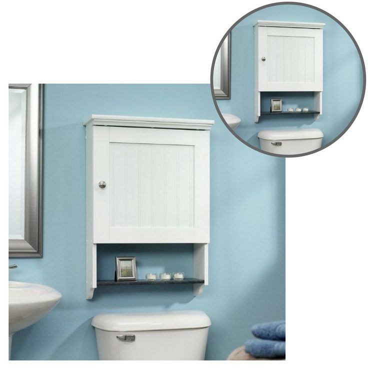 Bathroom Cabinet Over The Toilet Storage Shelves Wall Towels Bath Modern White #Unbranded
