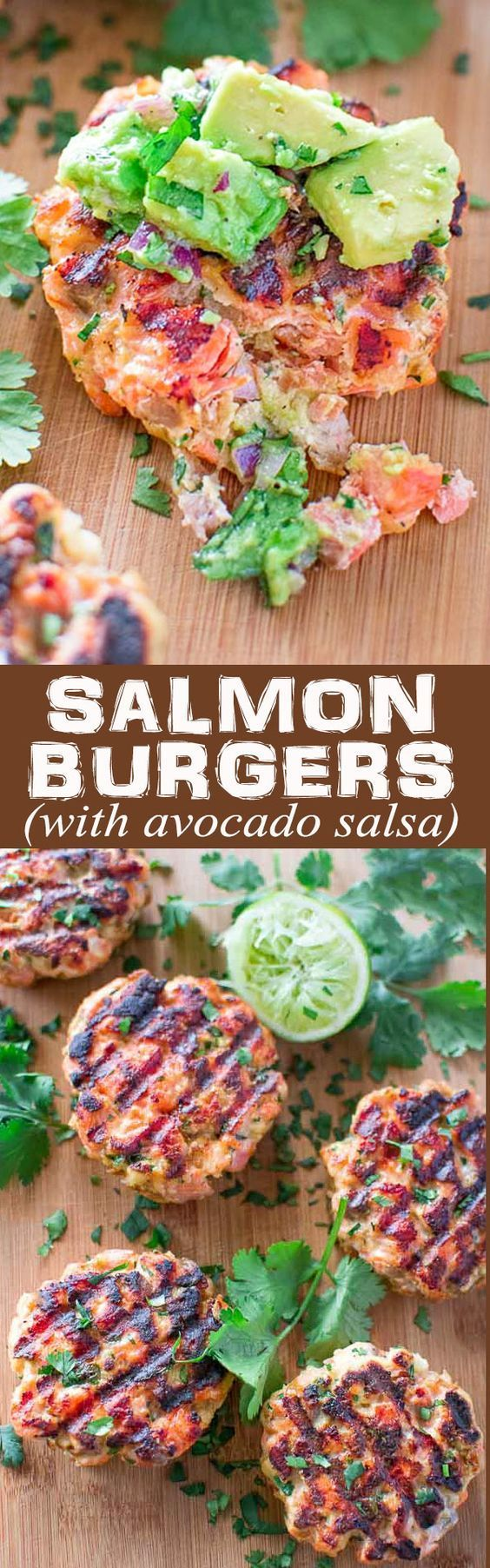 This tasty and easy Salmon Burger recipe is not to be missed! Ditch the bun and serve it with mouthwatering Avocado Salsa.