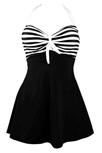 Spring fever Retro 50's Pin Up Swimsuit One Piece Skirtini Cover Up for Women Black XL (US12-14). DETAILS&QUALITY: Lightly padded top for added comfort and appeal. The pads are removable. You can adjust it as you like. Soft and smooth skirt hides all bits and flatters the rest. UNIQUE DESIGN: 2016 summer new arrival. Vintage inspired style swimsuit, with adjustable halter neck, skirted bottom, covering safety pants inside. It will give you an young and energetic looking. WIDELY APPLICABLE…