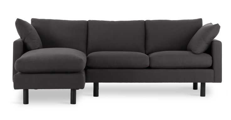 Nova Charcoal Gray Left Sectional Sectionals Bryght Modern Mid Century And Sc Mid Century Modern Sectional Sofa Scandinavian Furniture Modern Sofa Couch