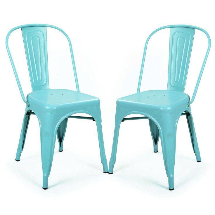 ELEGAN Metal Stackable Tolix Industrial Style Dining Chairs Blue Indoor Outdoor Kitchen, Set of 2