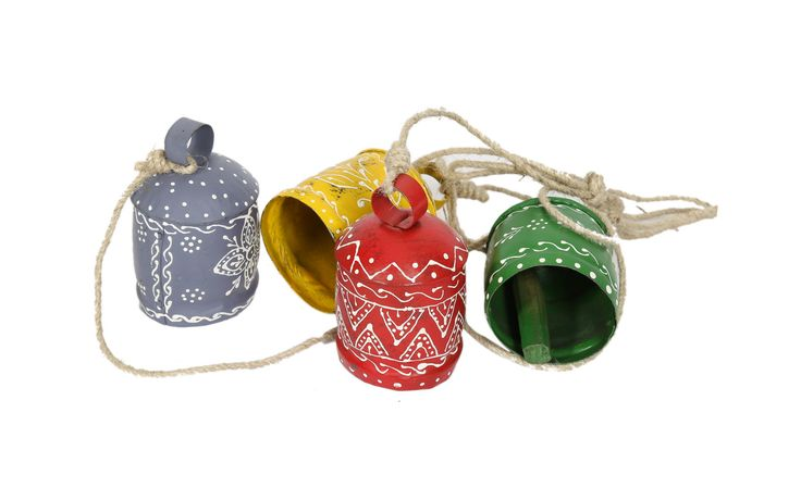 Ideas for decorating home with multi coloured bells. Available at  www.indikala.com #homedecor #interiordesign #onlineshopping